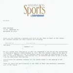 Teen-Beat 240 brick confirmation letter from Washington Sports